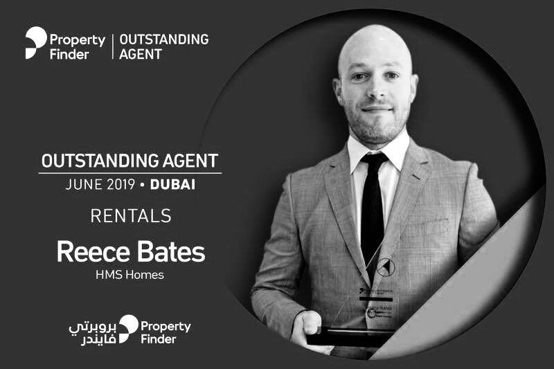 Special recognition for Reece Bates achieving Property Finder's Outstanding agent in June 2019